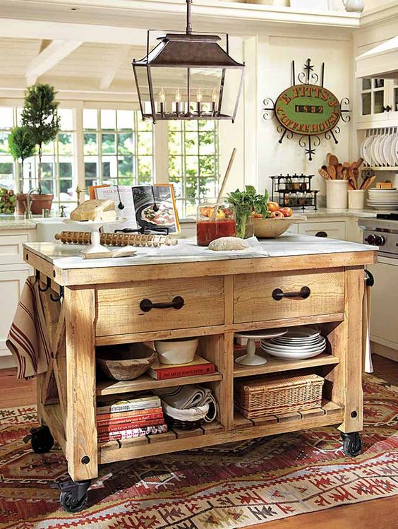 kitchen island with storage spaces