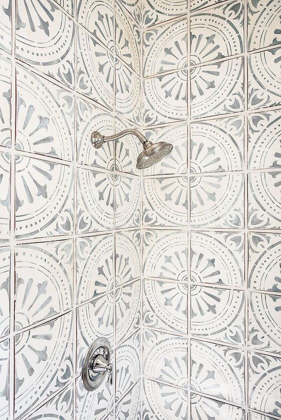 Fancy patterned cement shower tiles