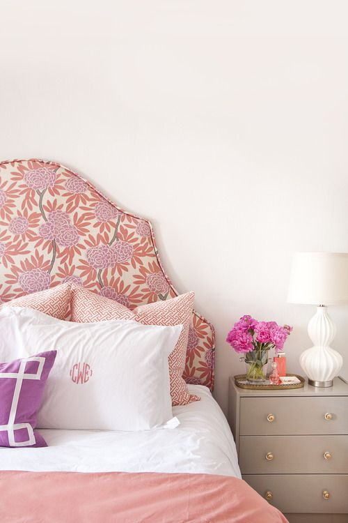 floral patterned headboard