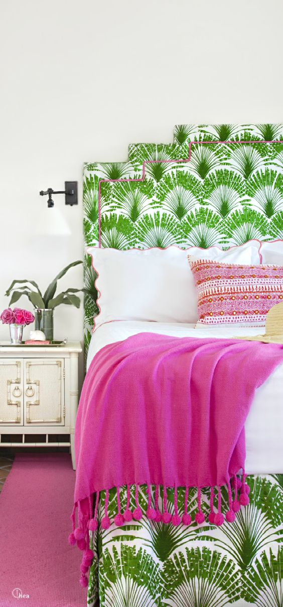 greenery patterned headboard