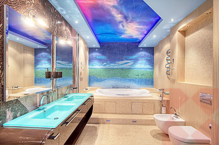 An amazing 5 storied townhouse with plenty of color and for Sea bathroom ideas