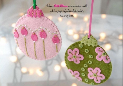 green and pink Christmas ornaments with beads, embroidery and appliques are always great and bright decorations