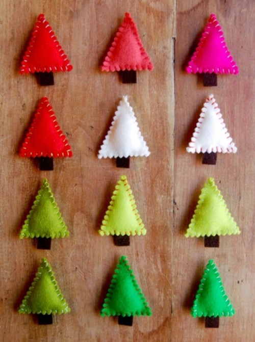 green, emerald, red, white and pink simple triangle Christmas ornaments imitating Christmas trees
