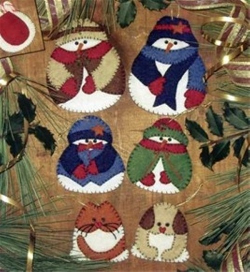 colorful owl, dog, snowmen and penguin felt Christmas ornaments with appliques are lovely and super bold