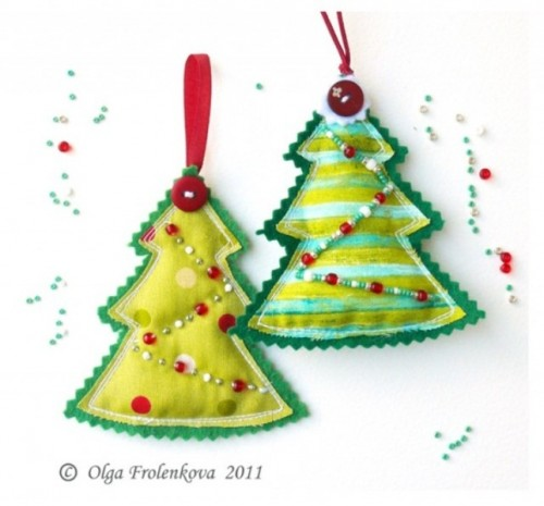 bright red and green Christmas ornaments with embroidery and beading, with buttons and loops are perfect and colorful holiday decorations to rock