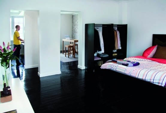 Apartment With Completely Black Wood Floors and 60 Square Meter Living Space
