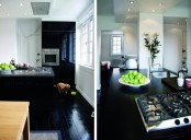 60 Square Meter Apartment With Completely Black Floors And Some Furniture