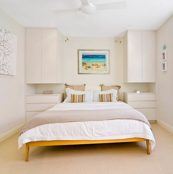a small bedroom fully done in only neutral shades looks bigger, more inviting and welcoming