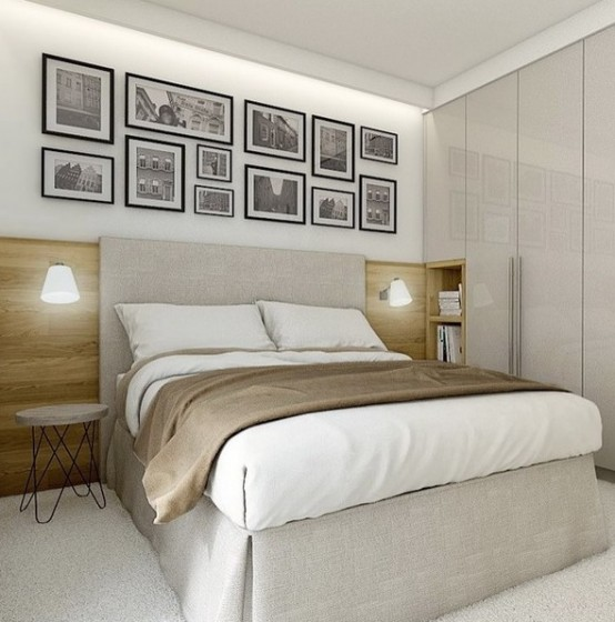 an extended headboard and glossy doors of the wardrobe add space to this small room