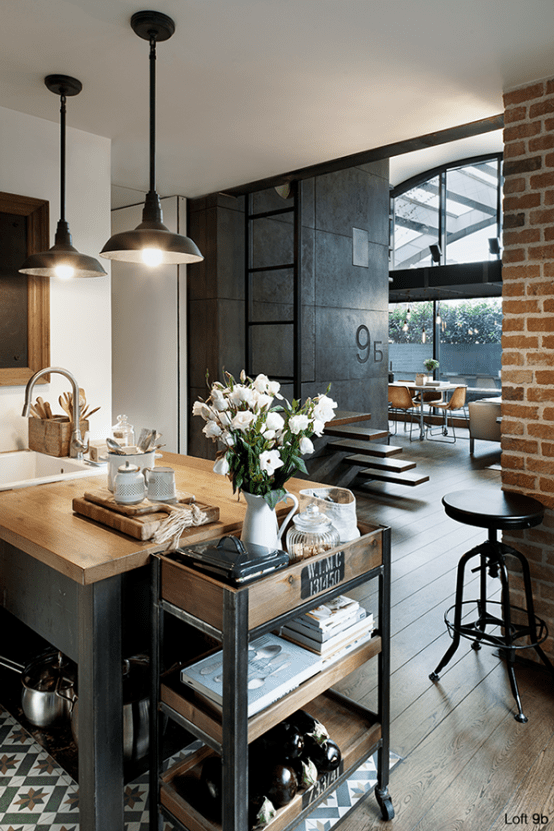 Industrial Loft With Brick Walls And Lots Of Metal In Decor