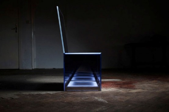 Invisible Chair Glowing In The Night