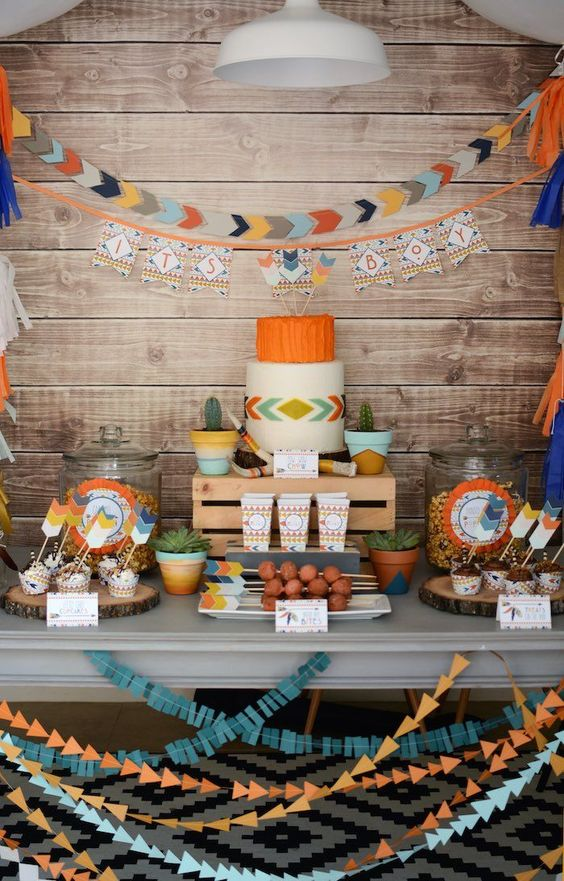 Aztec-themed modern baby shower