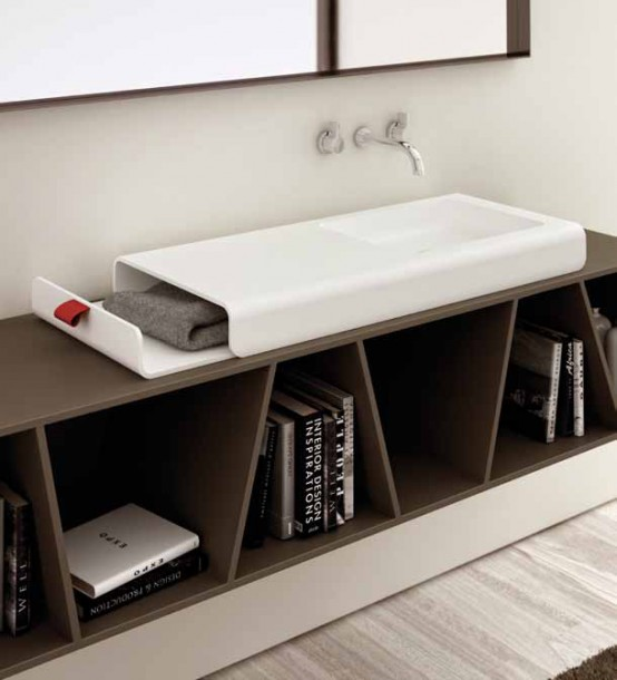 Bathroom Sink With Integrated Storage Compartment – Split by Planit