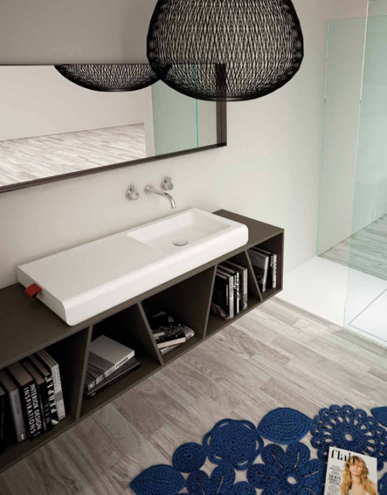 Bathroom Sink With Integrated Storage Compartment