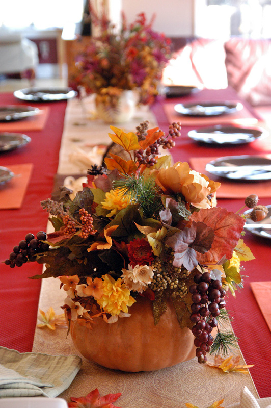 Elegant Beautiful Thanksgiving Table Decorations · Use Seasonal Autumn Flowers,  Leaves, And Twigs To Fill Your Hollow DIY Pumpkin Vase Gallery