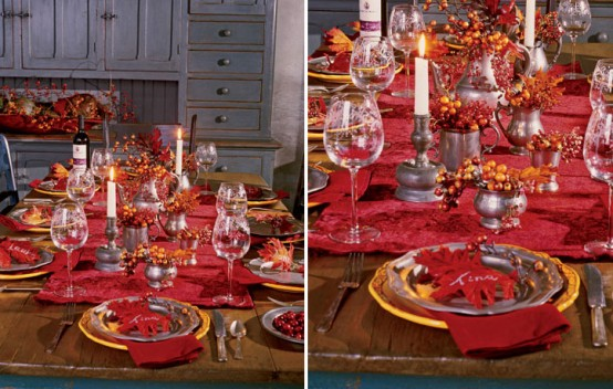 As the weather cools down, warm up your festive dinner with rich reds and oranges.