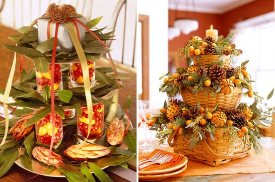 Add some simple country charm to your Thanksgiving table with a beautiful tiered centerpiece. A bunch of stacked baskets filled with kumquats and pinecones would work fine.