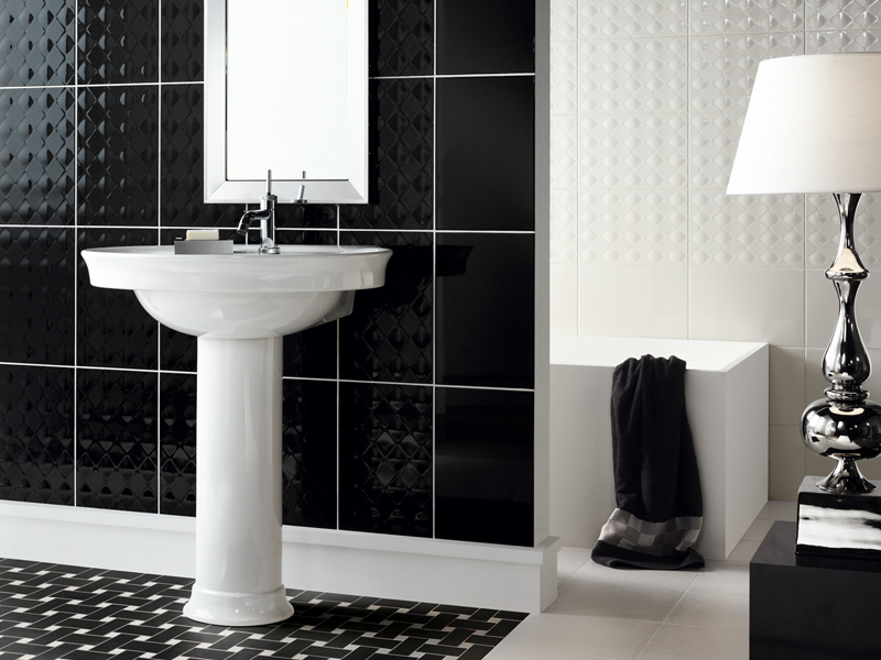 Beautiful wall tiles for black and white bathroom york for Monochrome bathroom designs