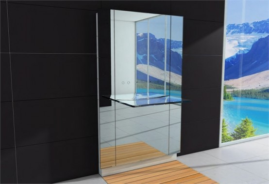 Big Bathroom Mirror With Integrated Glass Sink Water Lounge Body Care By Hoesch