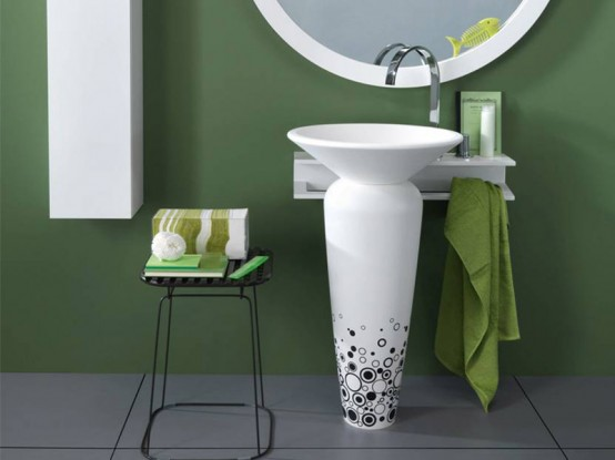 Black And White Pedestal Wash Basin – Milos by Regia