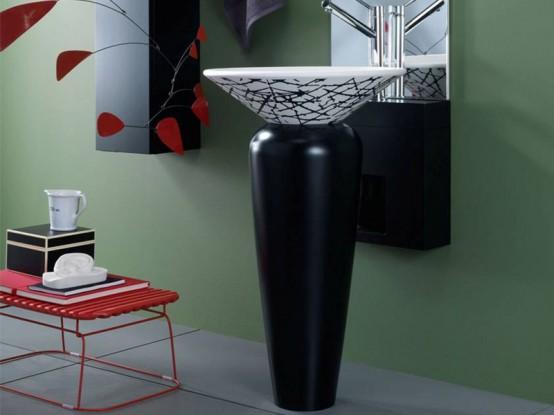 Black and white pedestal wash basin milos by regia for Glass wash basin designs dining room
