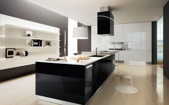 Modern black and white kitchen design ideas home office for Kitchen ideas modern white