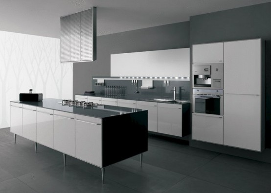 30 black and white kitchen design ideas digsdigs for Black white and gray kitchen design