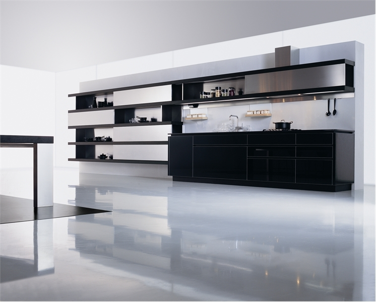 Ultra-modern-kitchen-area-with-cupboards-cabinets-decoration-shelves-absorber-and-stove