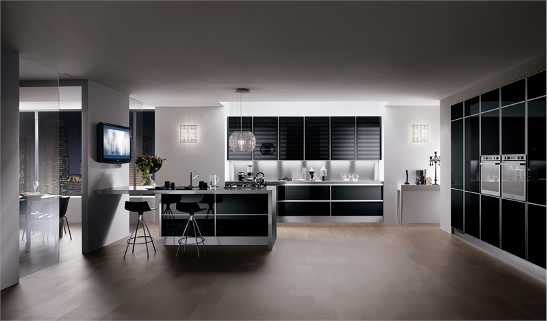 Luxury-kitchen-design-with-black-finish-cupboards-island-stools-and-wooden-floor