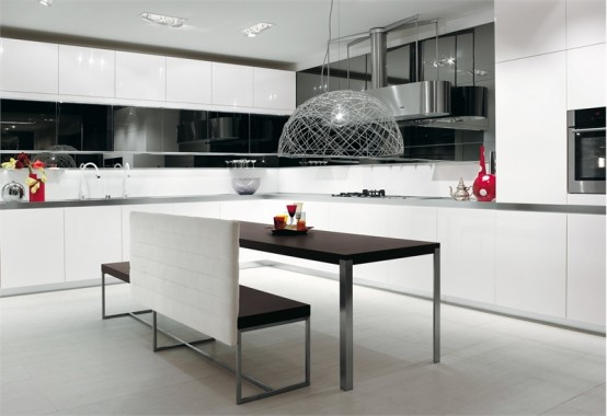 30 black and white kitchen design ideas digsdigs - Modern white kitchen design ideas ...