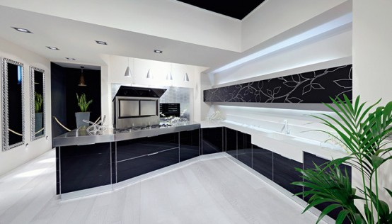 Modern kitchen tiles in black and white color