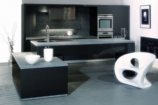 30 black and white kitchen design ideas digsdigs for Black white and blue kitchen ideas
