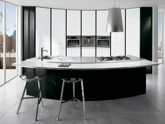 A prettyboy 39 s blog black and white kitchen with curved for Modern kitchen designs 2009