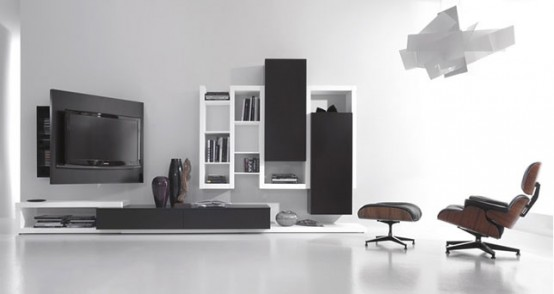 Black And White Living Room Furniture With Functional Tv Stand Creative Side System By Fimar