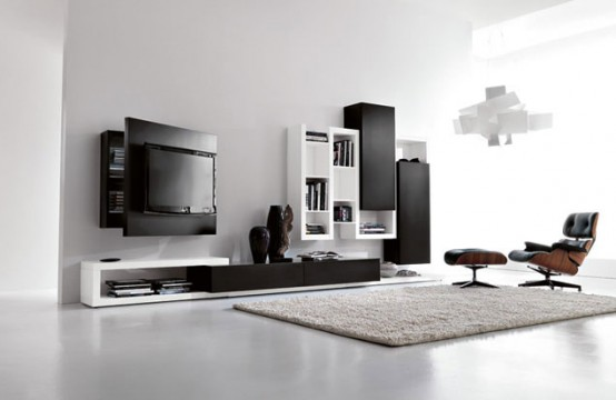 Black And White Living Room Furniture With Functional Tv Stand Creative  Side System By Fimar Part 42