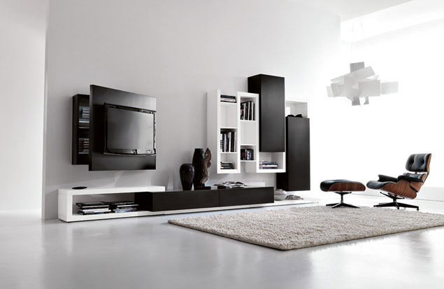 black and white living room furniture with functional tv