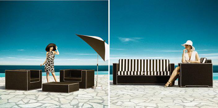 Black And White Outdoor Wicker Furniture Haute Terasse By Borek