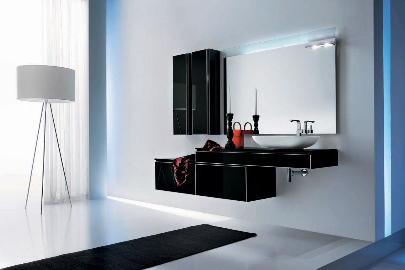 Modern black bathroom furniture onyx by stemik living for Dark bathrooms design