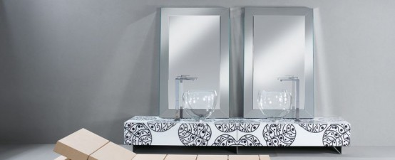Bright Glass Bathroom Furniture With Floral Motif By Cogliati-Cogliati