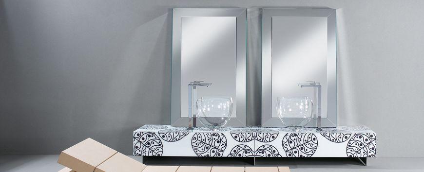 Bright Glass Bathroom Furniture With Floral Motif By Cogliati-Cogliati