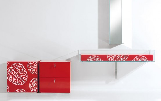 Bright Glass Bathroom Furniture With Floral Motif By Cogliati Cogliati