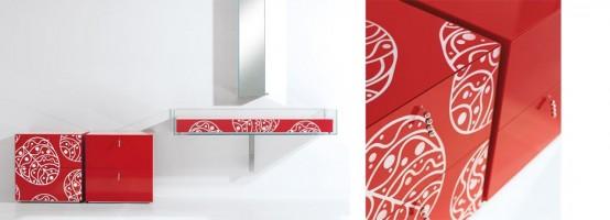 Bright Glass Bathroom Furniture With Floral Motif By Cogliati Cogliati