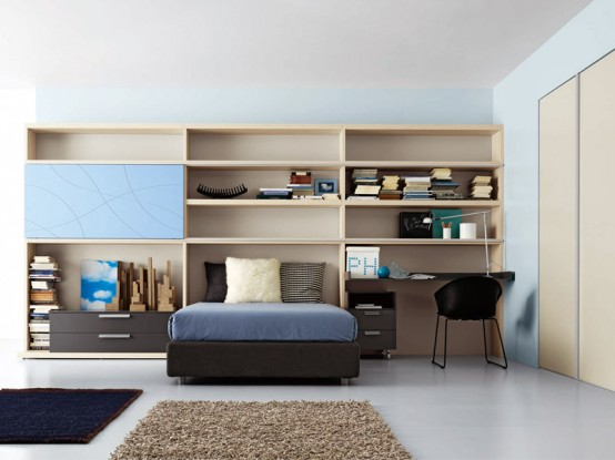 bright and ergonomic furniture for modern teen room by battistella