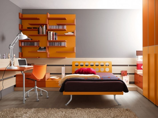 bright and ergonomic furniture for modern teen room by battistella industria mobili digsdigs. Black Bedroom Furniture Sets. Home Design Ideas