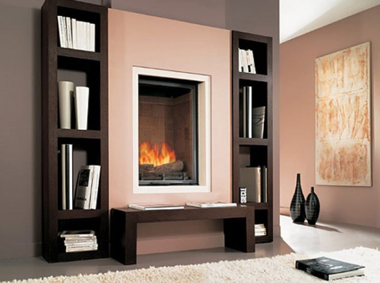 Built-in Fireplace With Wooden Shelves – Biblio By Chazelles