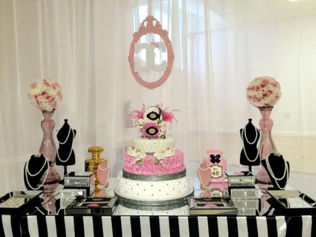 Chanel-themed modern baby shower