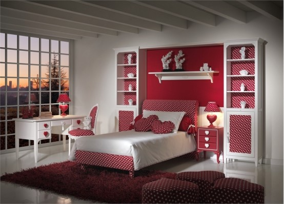 Charming Girls Bedrooms With Hearts Theme Batticuore By Halley Junior