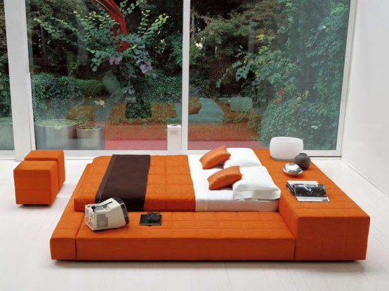 Contemporary Big Double Bed Squaring Penisola By Bonaldo