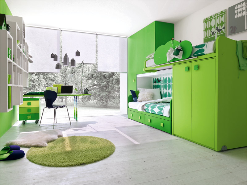 Contemporary green kids bedroom by stemik living digsdigs for Living room ideas kids