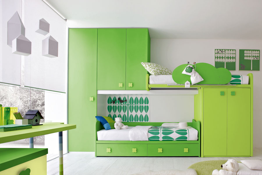 Contemporary green kids bedroom by stemik living digsdigs for Kids bedroom designs